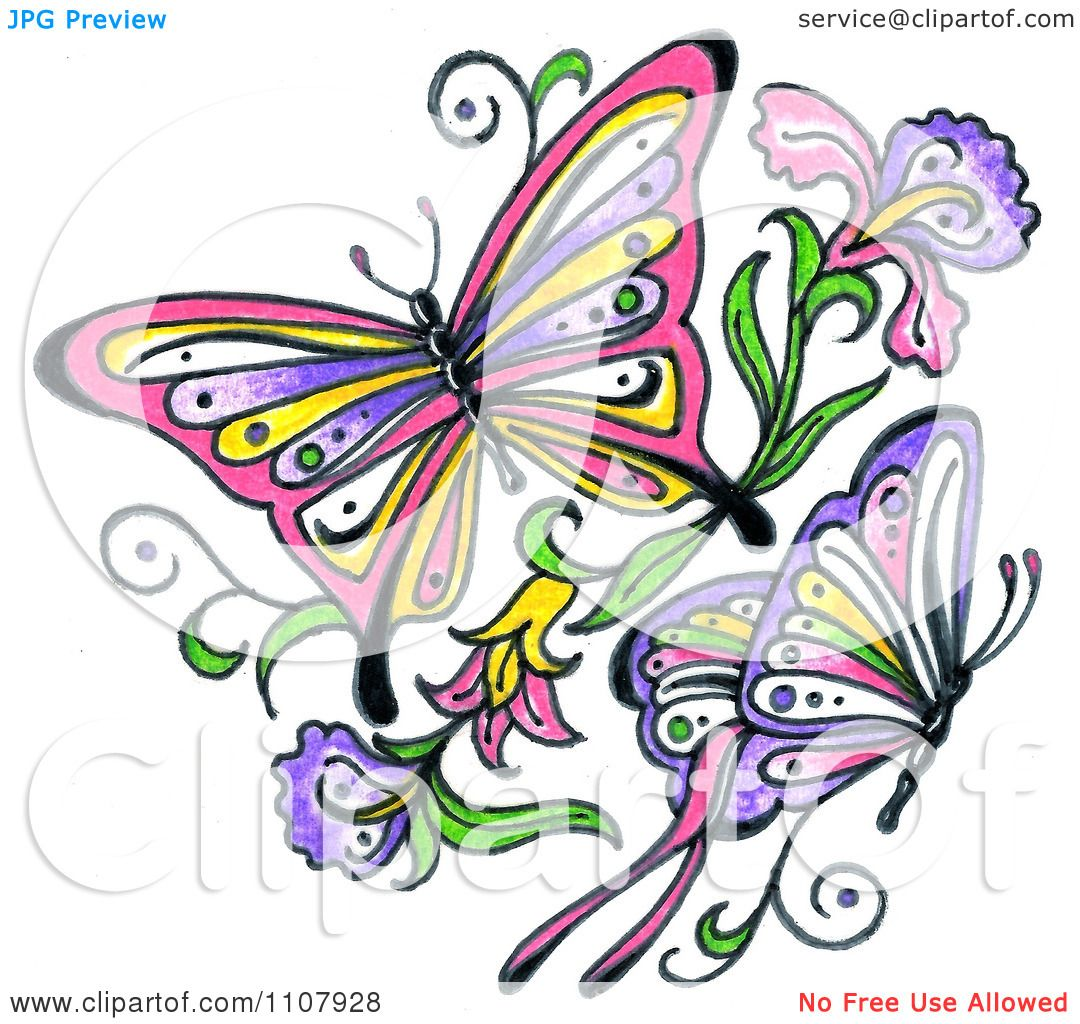 1080x1024 Clipart Colorful Asian Butterflies With Flowers