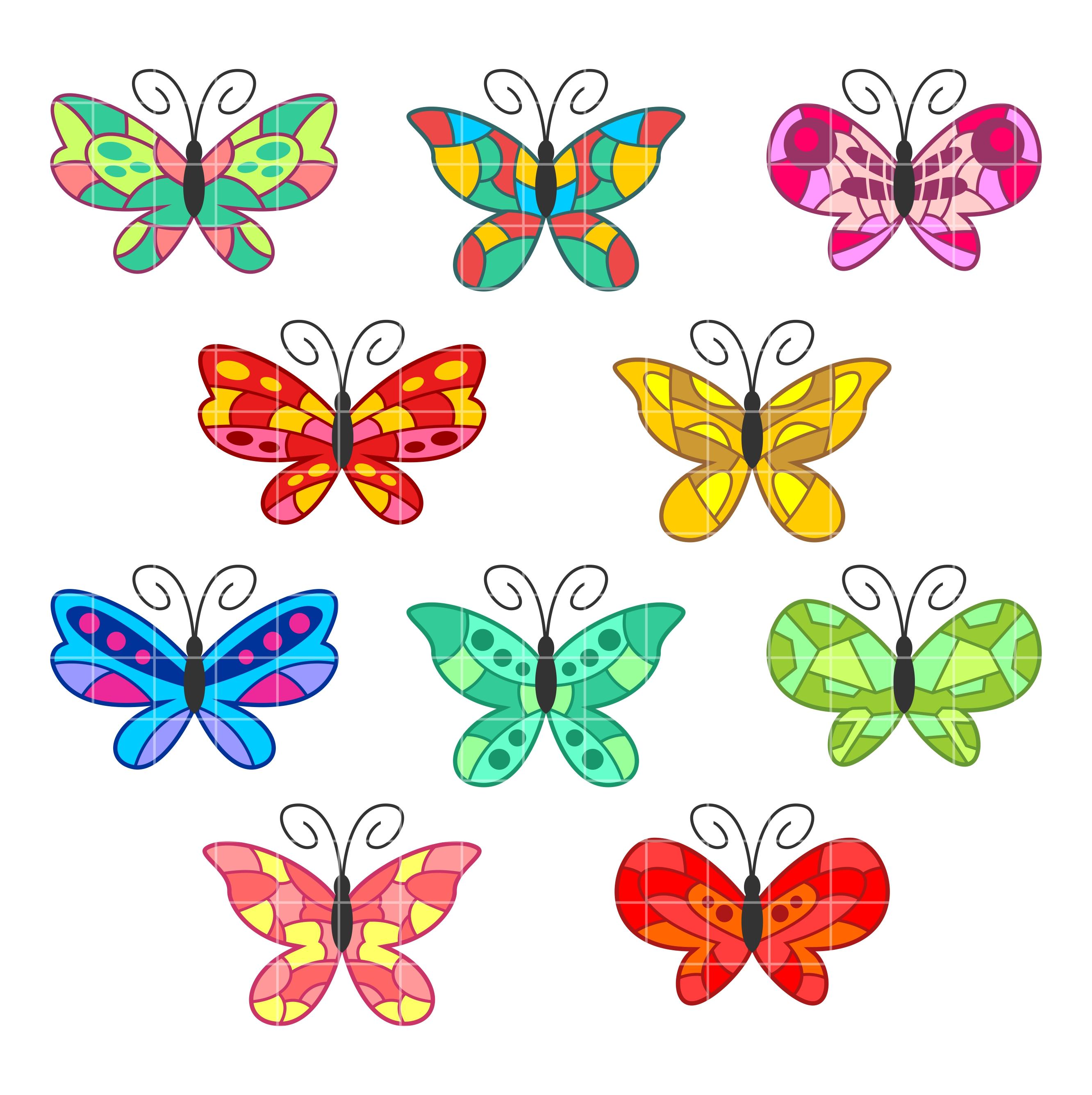 2664x2670 Colorful Butterflies Set Semi Exclusive Clip Art Set