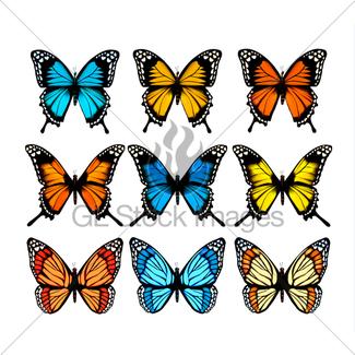 325x325 Hands Releasing Colorful Butterflies. Vector Illustration Gl