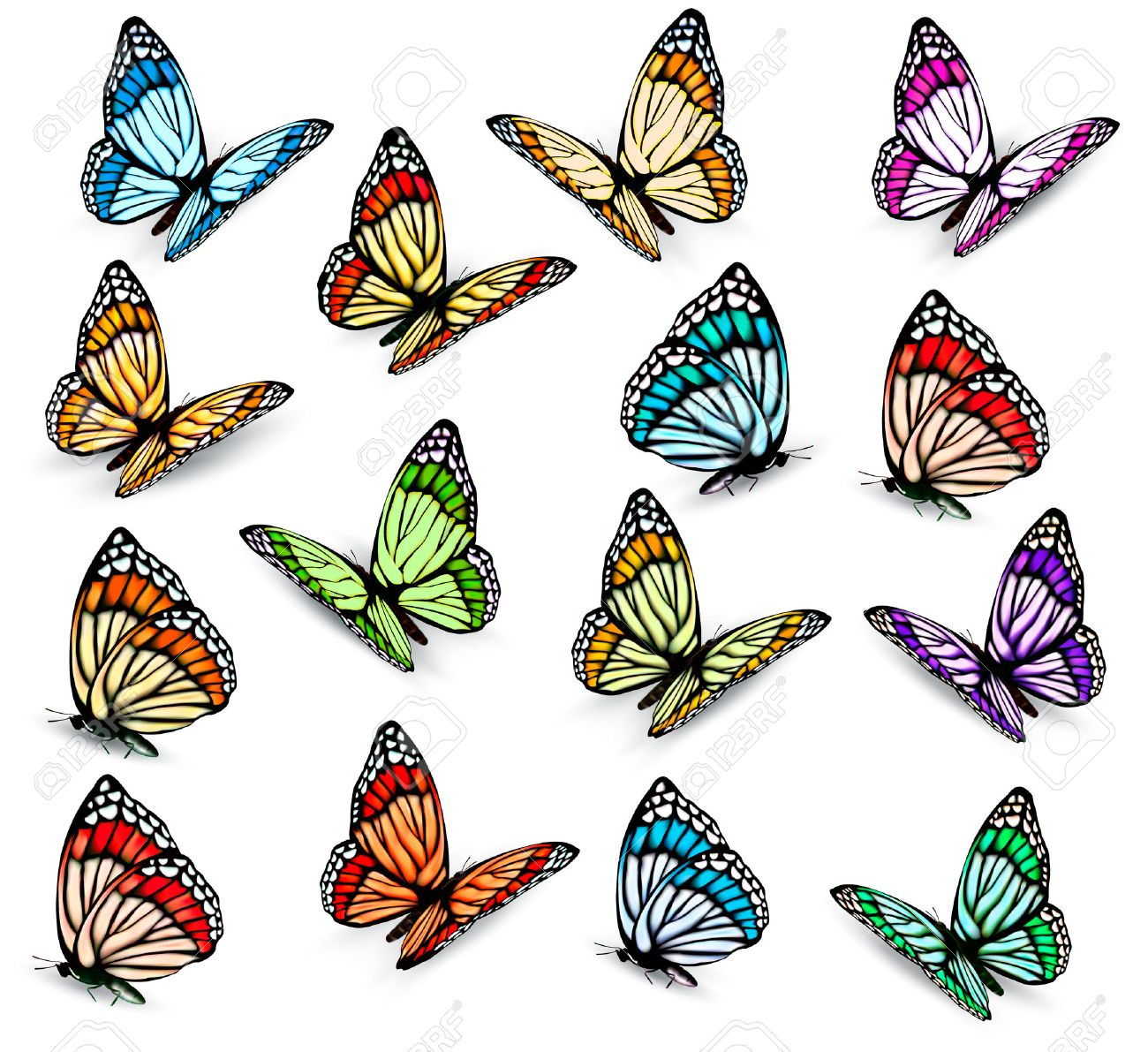 1300x1191 Set Of Realistic Colorful Butterflies. Vector Royalty Free