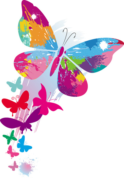 418x600 Set Of Vector Colorful Butterflies Background Free Vector
