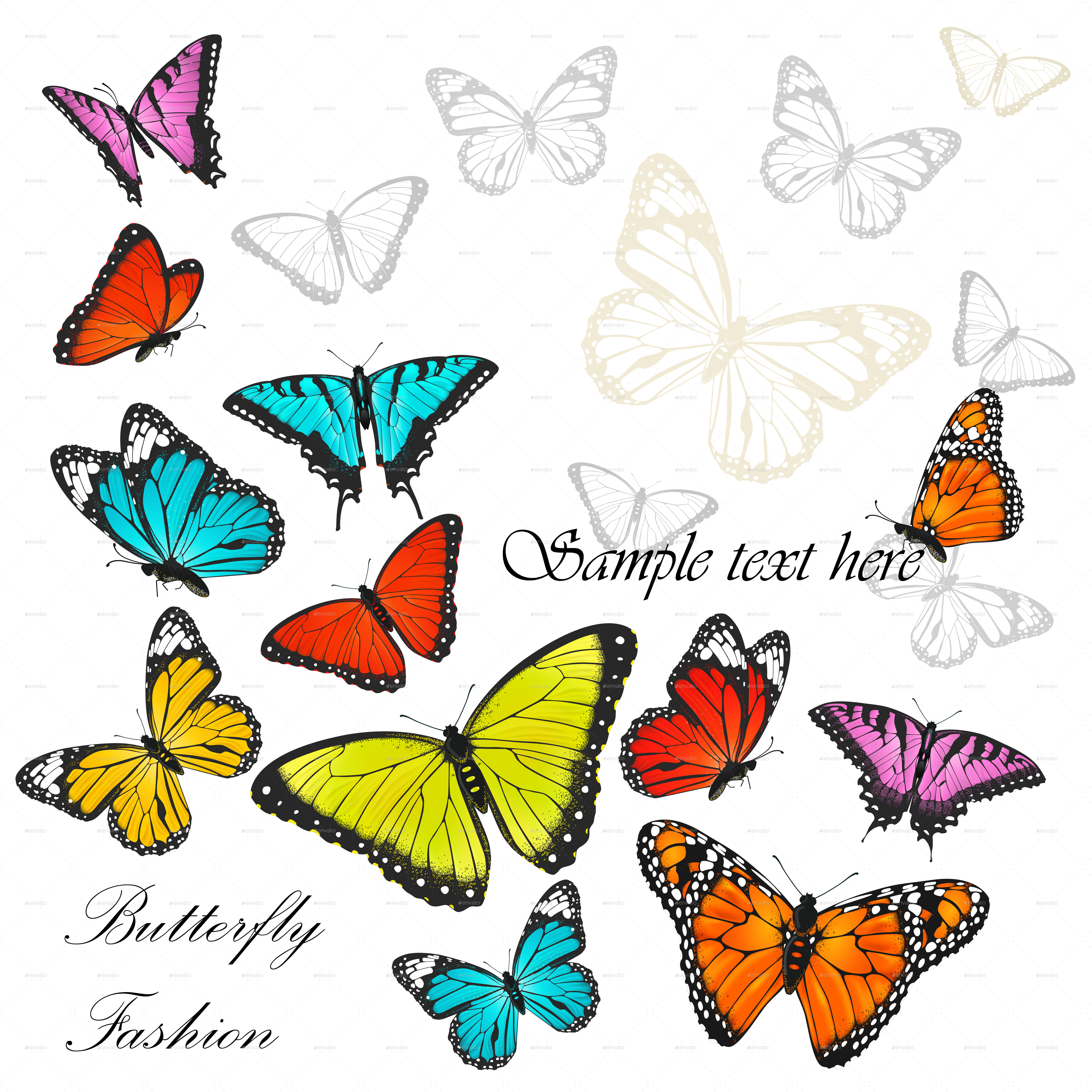 4535x4535 Background With Colorful Butterflies By Yayasya Graphicriver