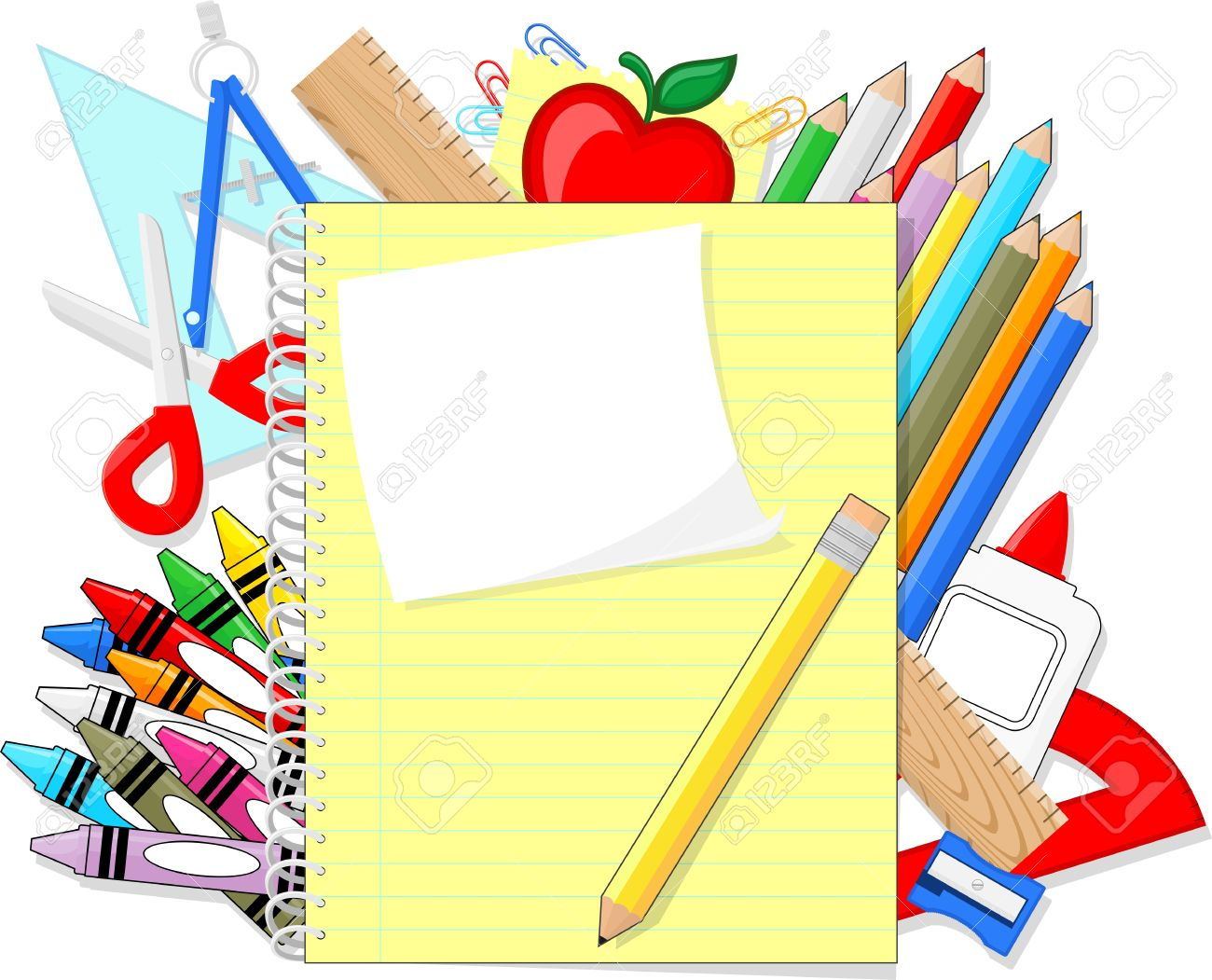1300x1051 School Education Supplies Items And Note Book Isolated On White