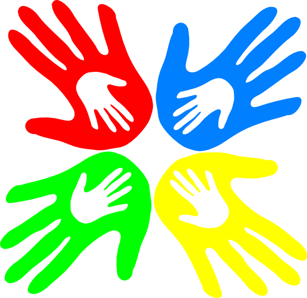 600x581 Four Colored Hands 45 Degree Clip Art