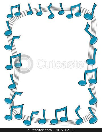 Colorful Music Note Border