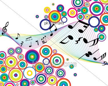 Colorful Music Notes Border