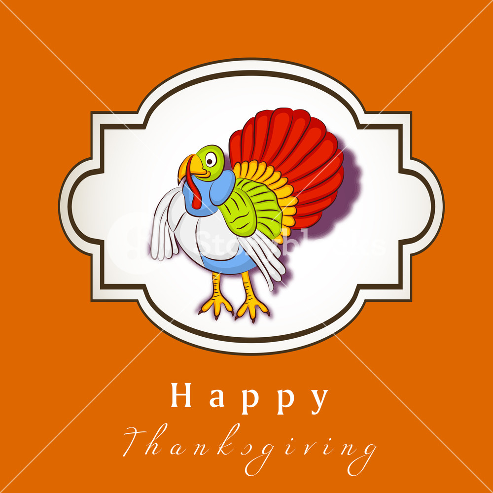 1000x1000 Happy Thanksgiving Day Concept With Colorful Turkey On Orange