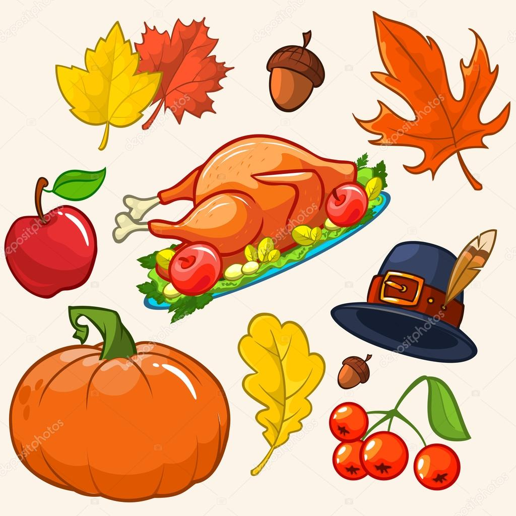 1024x1024 Set Of Colorful Cartoon Icons For Thanksgiving Day Pumpkin