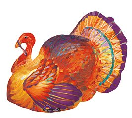 267x240 Colorful Thanksgiving Turkey 31 Mylar Balloon