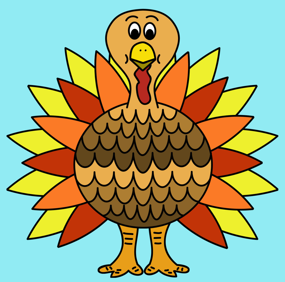 1162x1150 Colorful Turkey Clipart