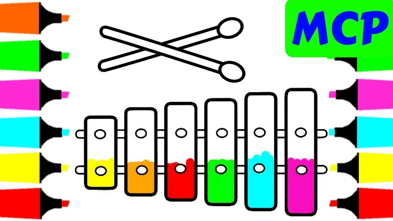 1280x720 Coloring Pages Xylophone For Kids