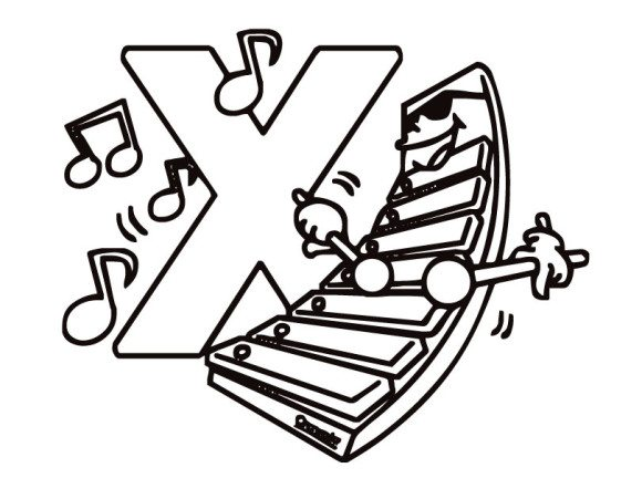 580x451 Coloring Xylophone Xylophone Printable Free Alphabet Coloring