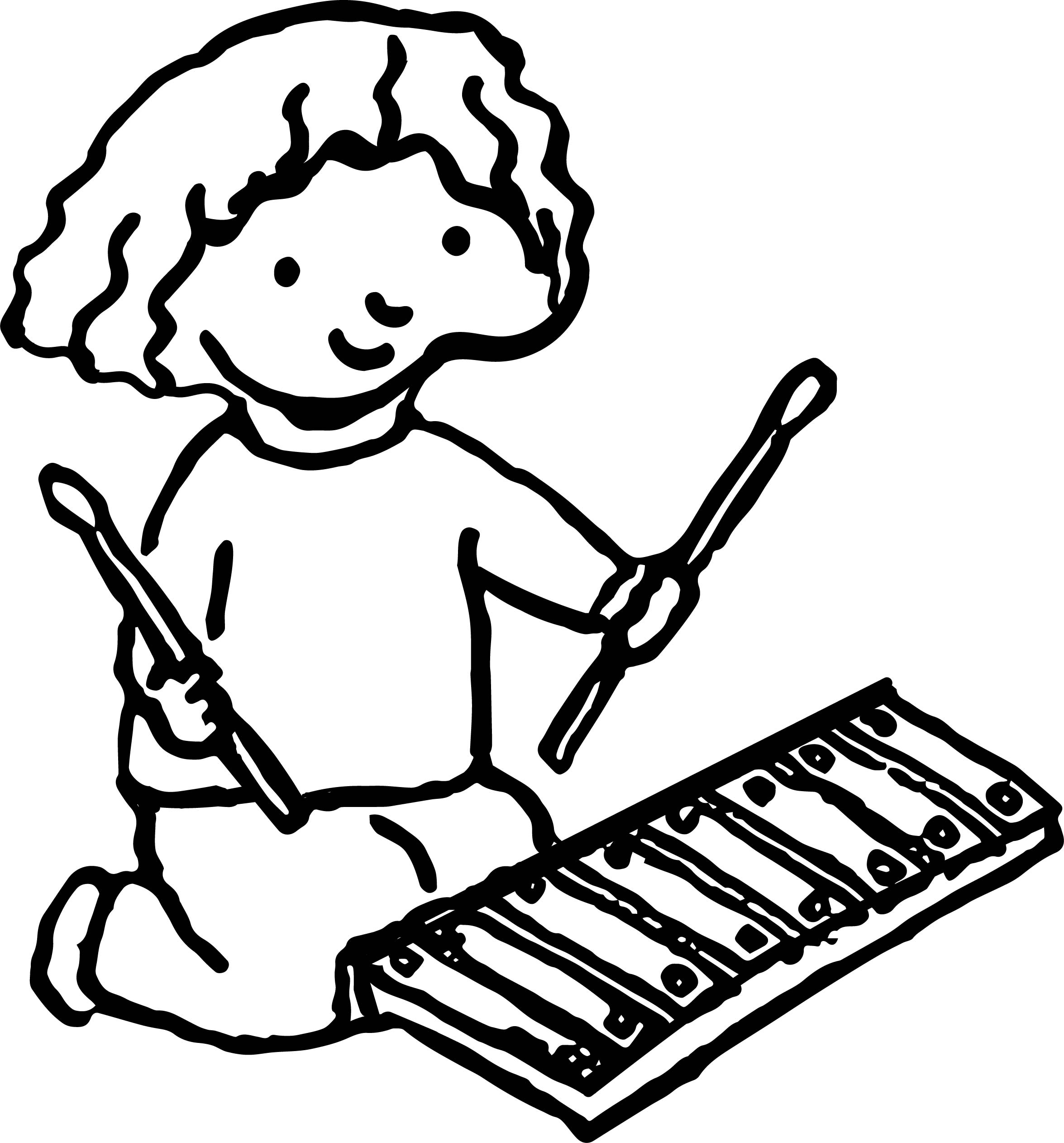 2351x2524 Girl With Xylophone Activity Coloring Page Wecoloringpage