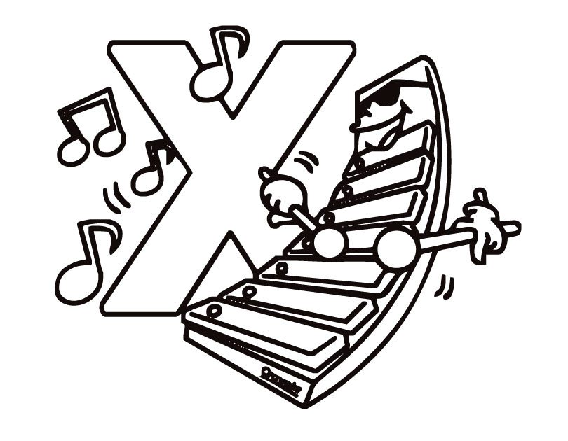810x630 Xylophone Printable Free Alphabet Coloring Pages Alphabet