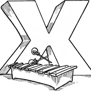 300x300 Xylophone For Letter X Coloring Page Bulk Color