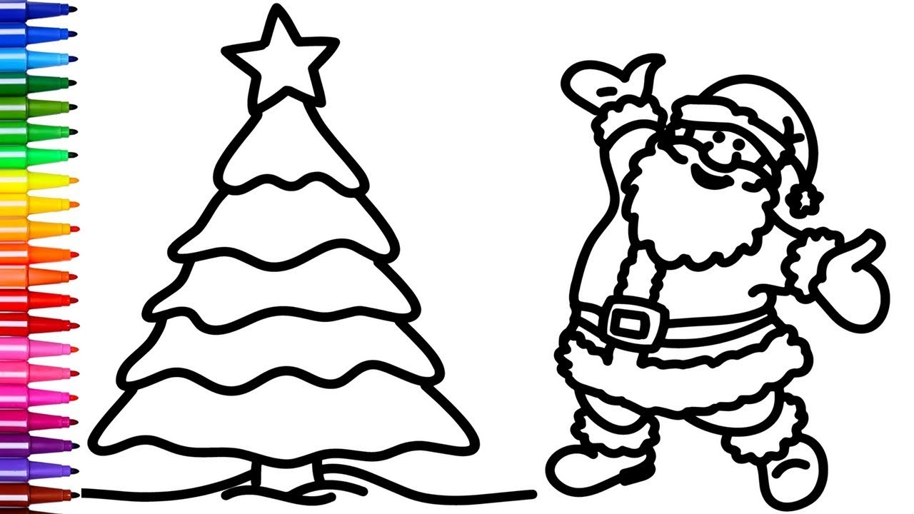 1280x720 Coloring Santa And Christmas Tree Coloring Pages Creativity Colors