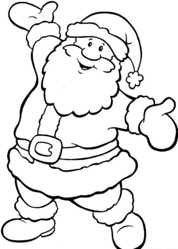 Free Coloring Pages To Print For Christmas. 580x809 Happy Santa Free Coloring Pages For Christmas 12 Days Of  download best
