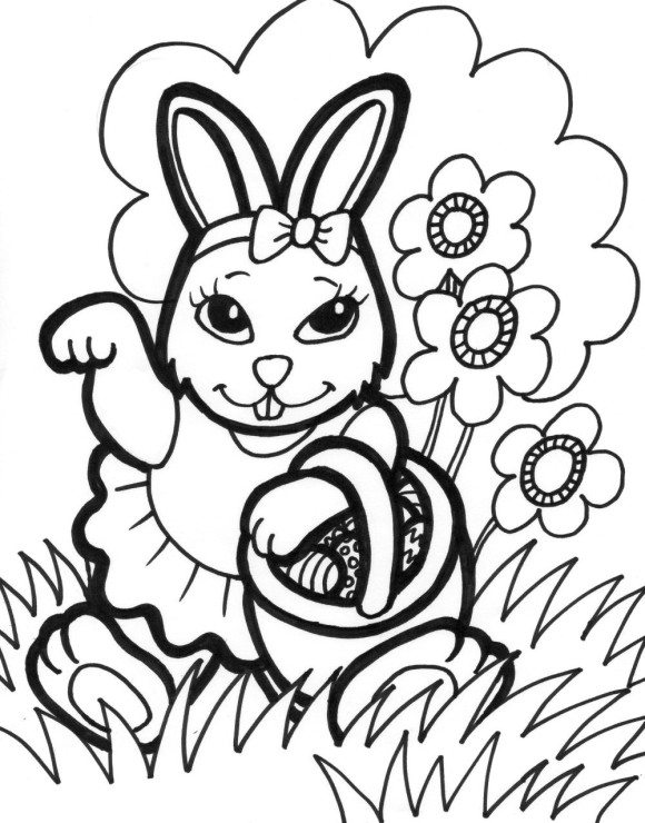 580x740 Kids Easter Coloring Pages Bunny And Eggs Easter Coloring Pages