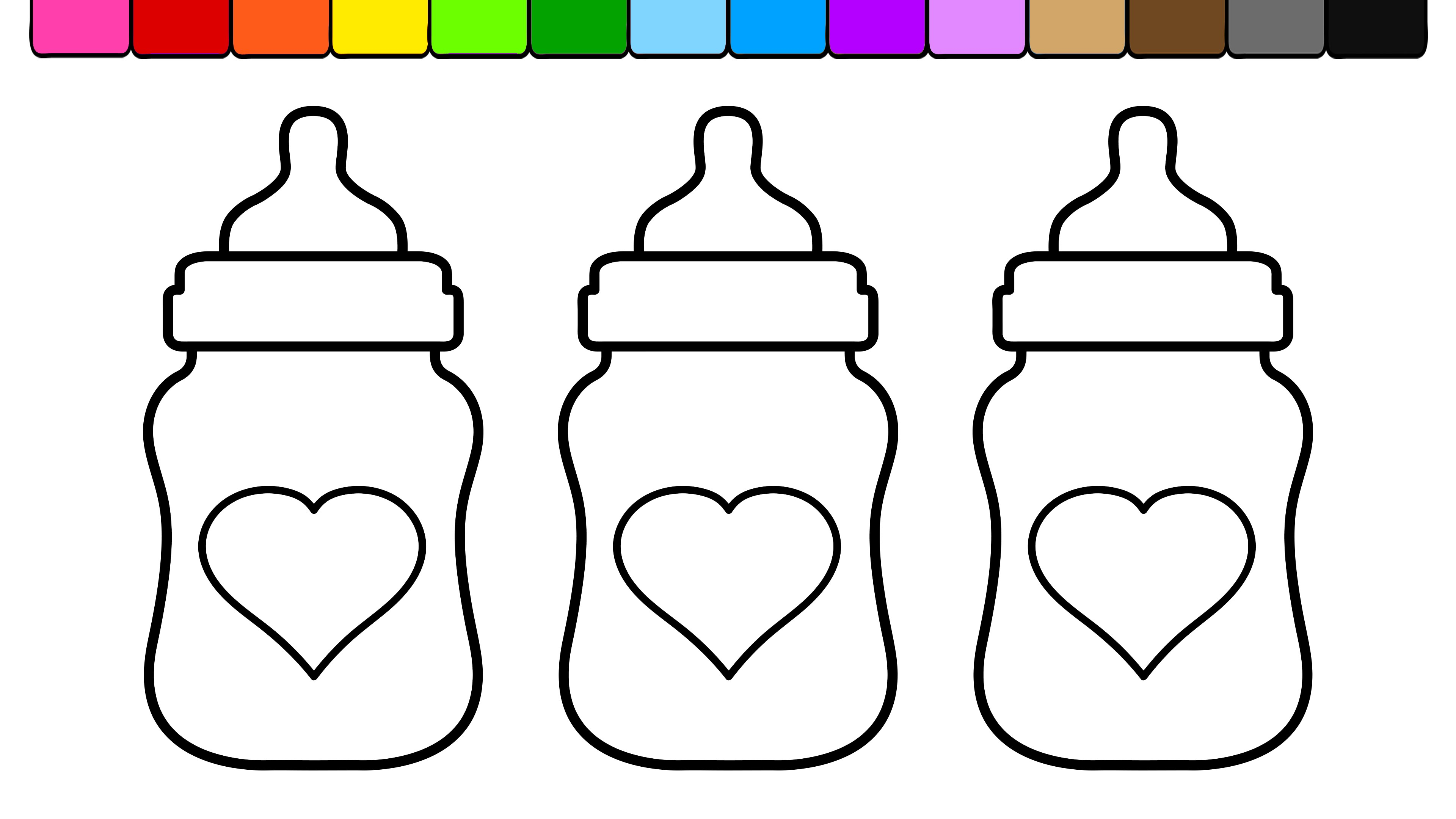 3840x2160 Learn Colors And Color Heart Baby Bottles Coloring Pages
