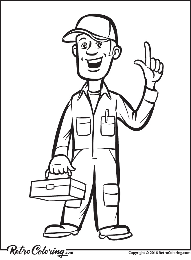 660x900 Cartoon Plumber With Toolbox Coloring Page
