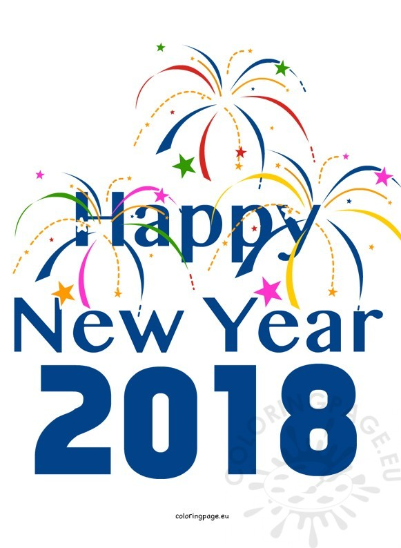 581x794 Colorful Fireworks Happy New Year 2018 Coloring Page