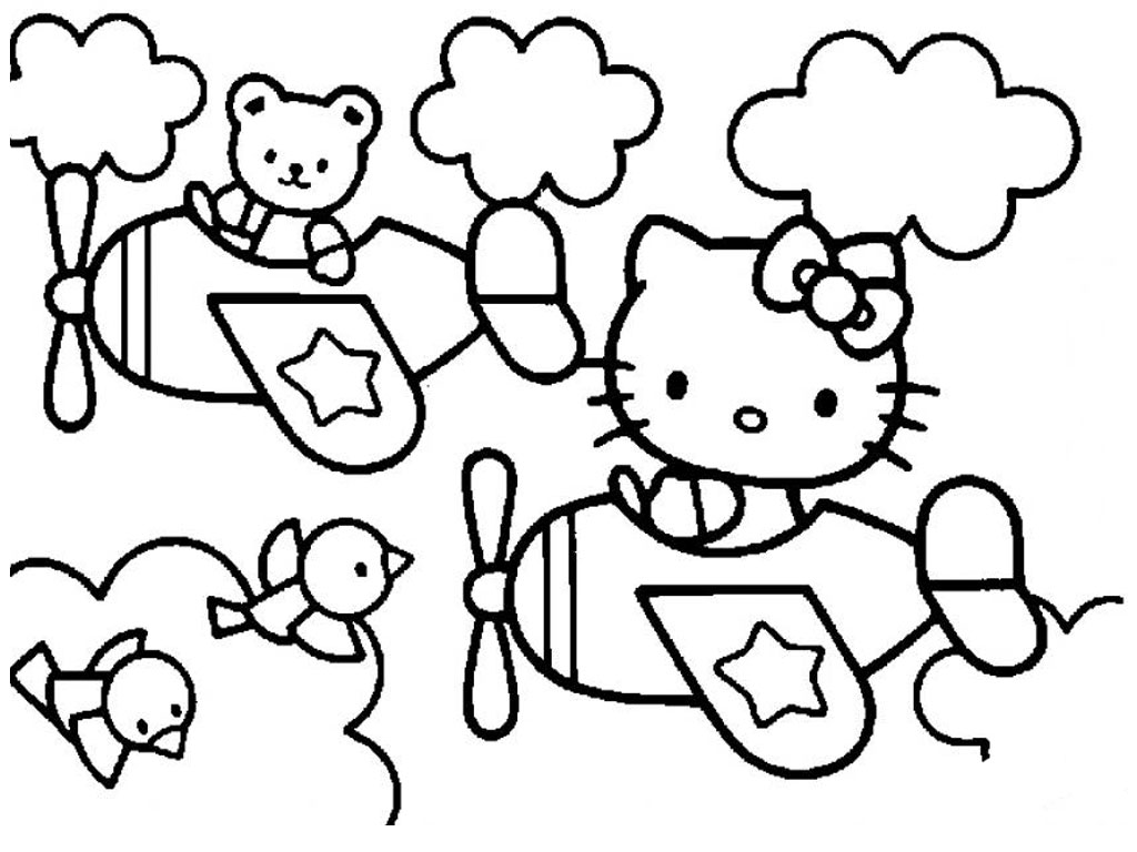 1024x768 Awesome Free Printable Hello Kitty Coloring Pages 4