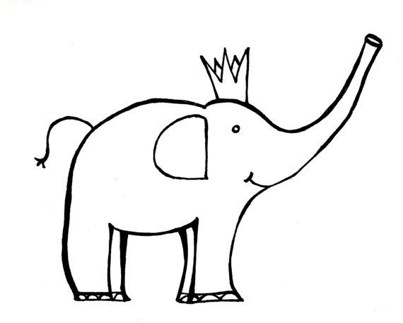 570x456 8.5x11 Adorable Elephant Printable Coloring Page Pdf By