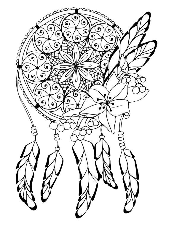 570x759 Adult Coloring Pages Dreamcatcher 3 Adult Coloring Pages