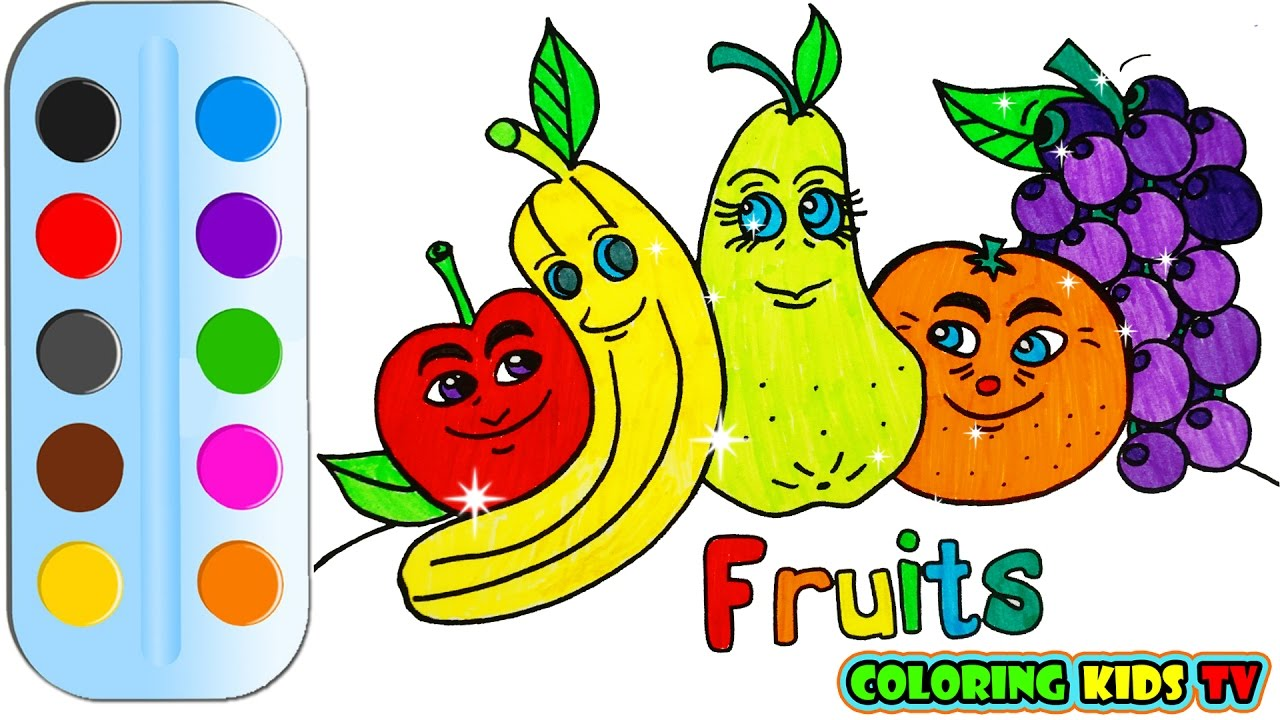 1280x720 Coloring Pages Fruits Amp Drawing For Children How To Color By