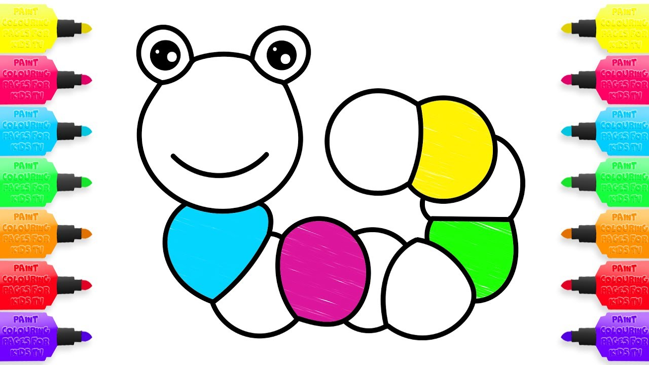 1280x720 How To Draw Colorful Caterpillar Coloring Pages Toys For Kids