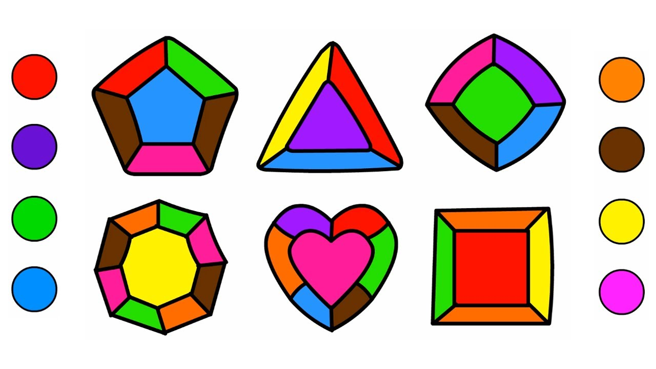 1280x720 Shapes Coloring Pages Magic Colored Crystals Drawing And Art