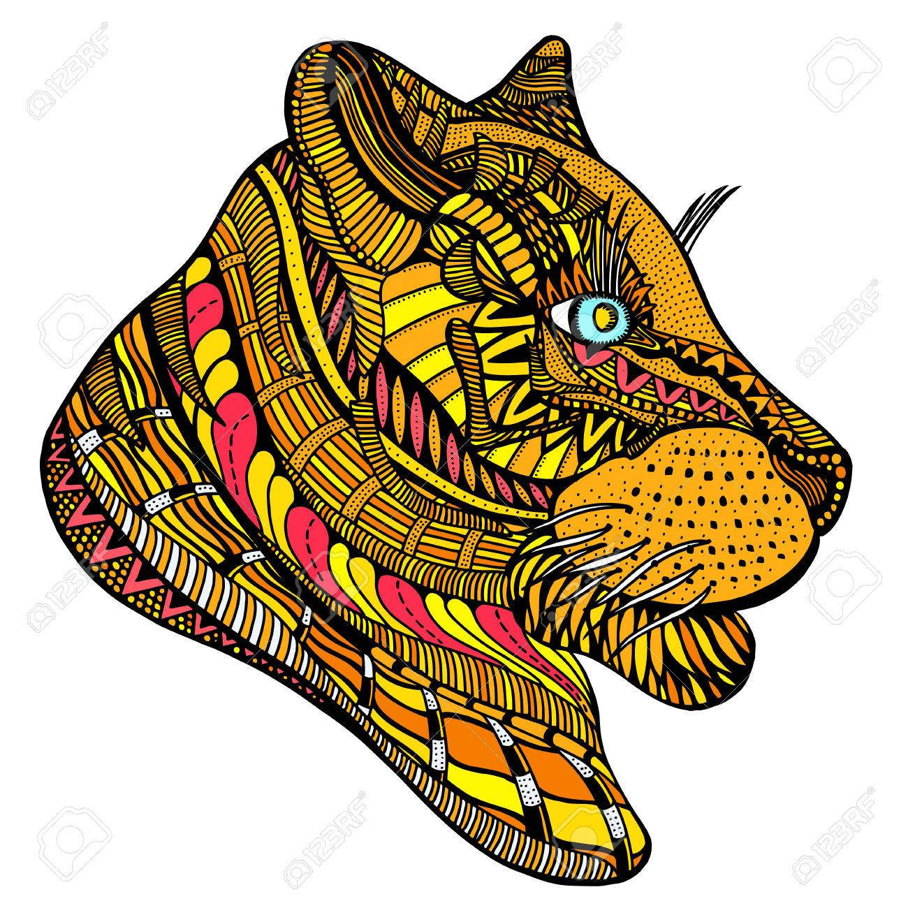 1300x1300 Tiger Head. Adult Antistress Coloring Page. Colored Hand Drawn