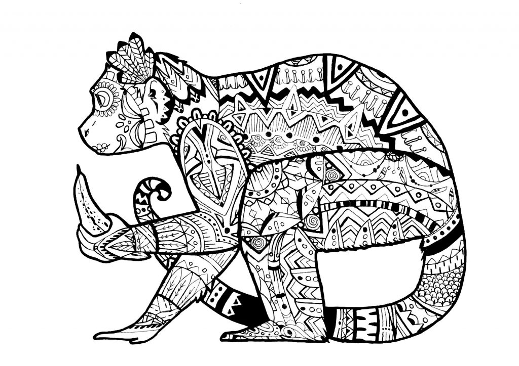 1024x724 Coloring Pages Of Animals For Adults