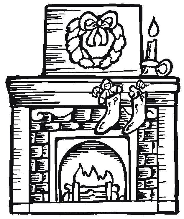 624x744 Drawn Fireplace Christmas Coloring Page