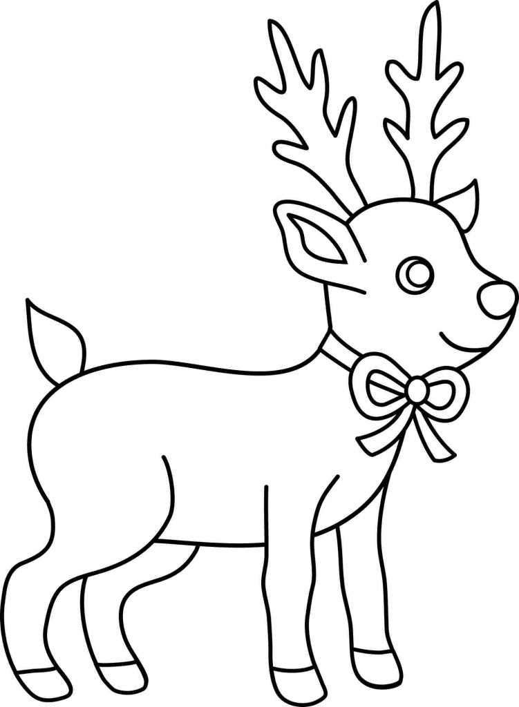 751x1024 easy christmas drawing deer and santa christmas coloring pages