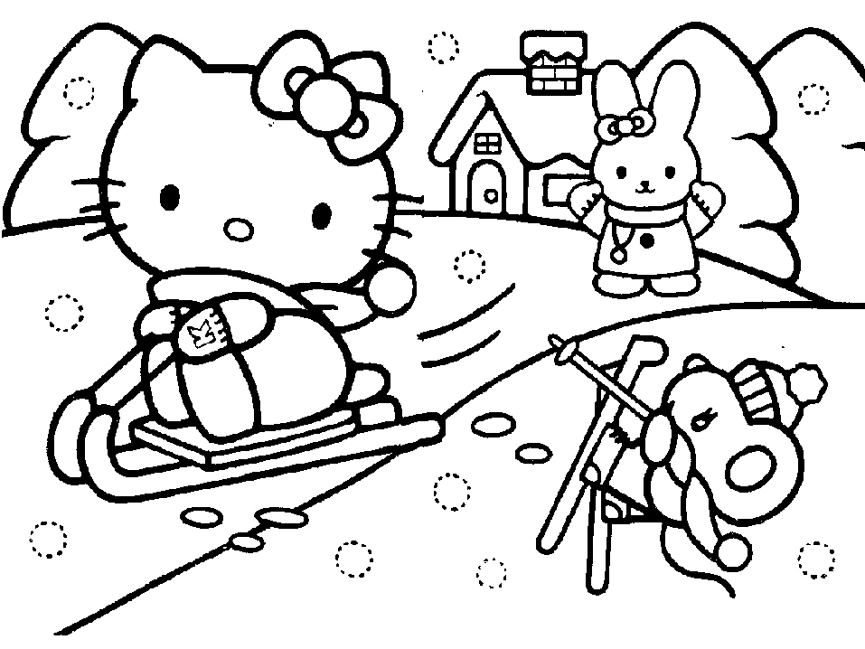 957x718 Hello Kitty Coloring Sheets