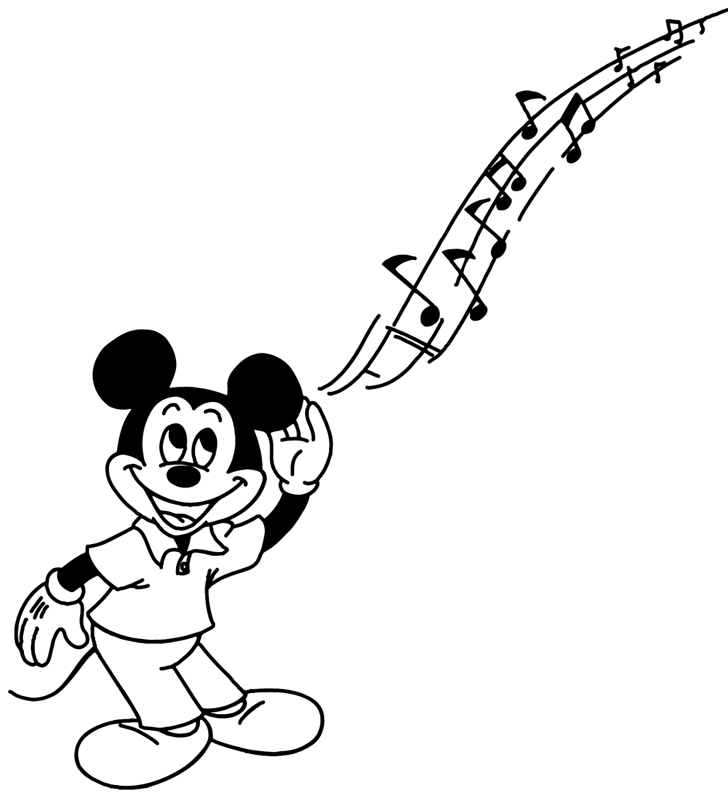 1460x1600 Stunning Mickey Mouse Music Coloring Page With