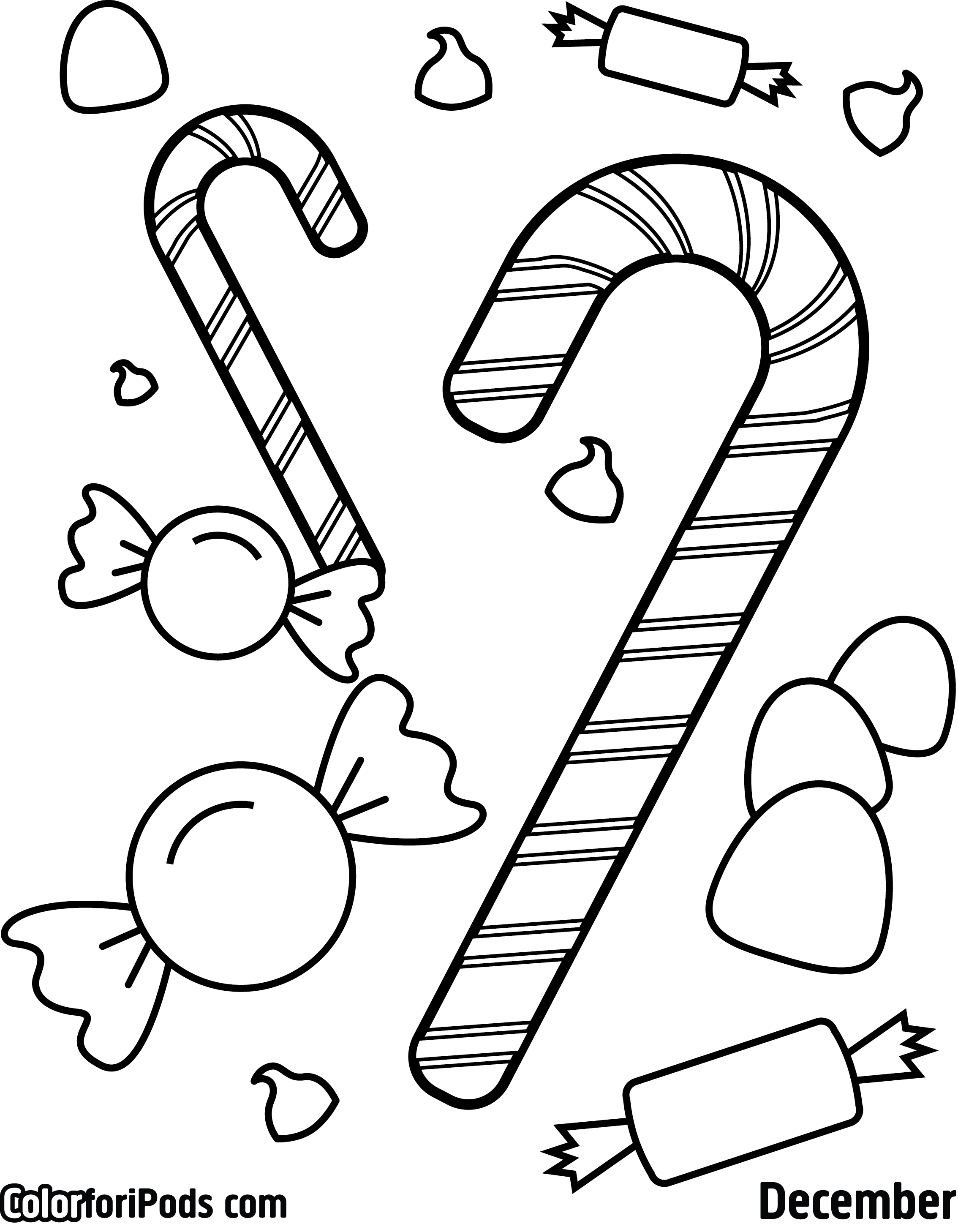 2268x2916 surprising christmas tree coloring pages to print with candy cane