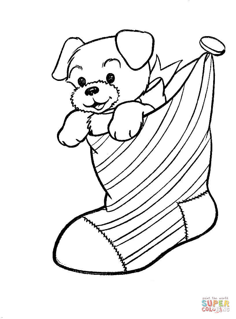 816x1104 A Puppy Dog In A Christmas Stocking Coloring Page Free Printable