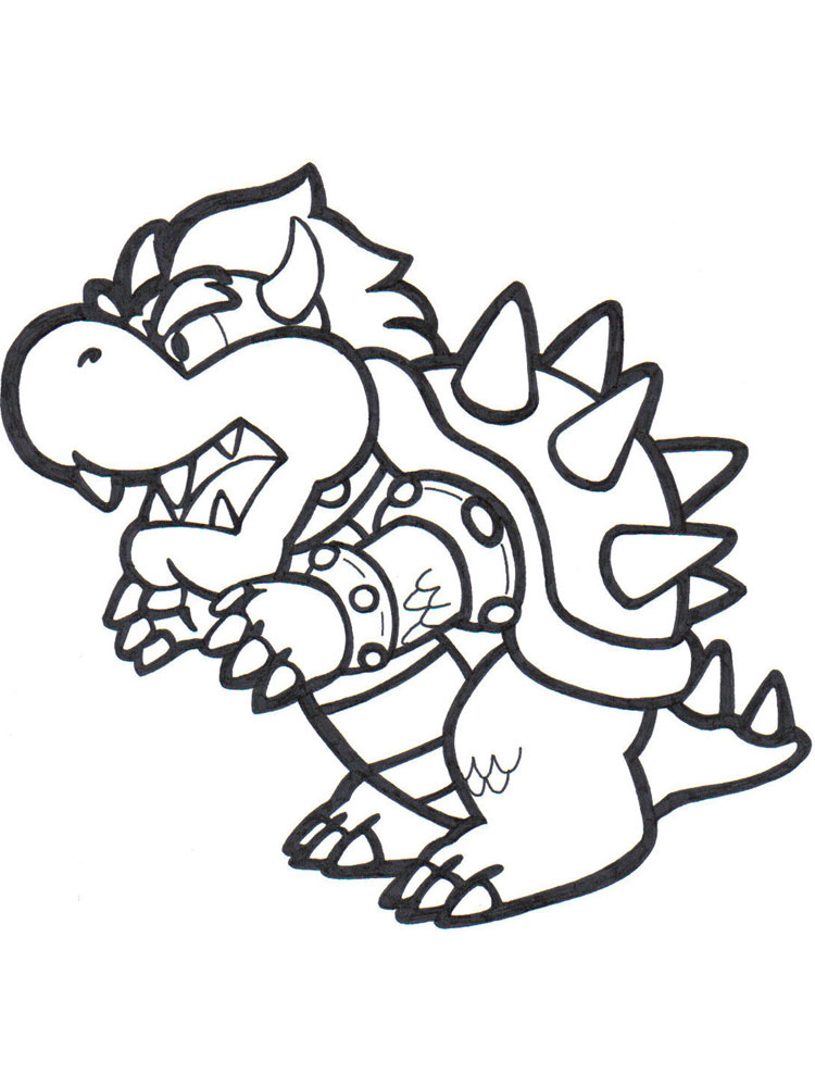 750x1000 Mario Bowser Coloring Pages. Free Printable Mario Bowser Coloring