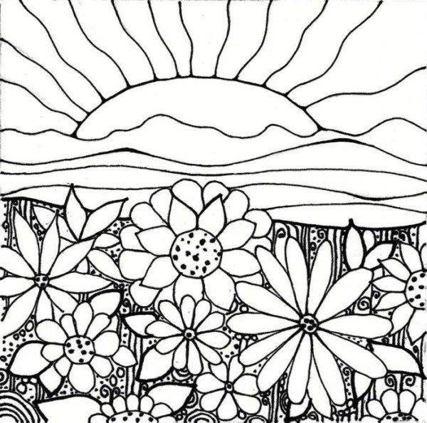 600x594 Flower Garden Coloring Pages Printable