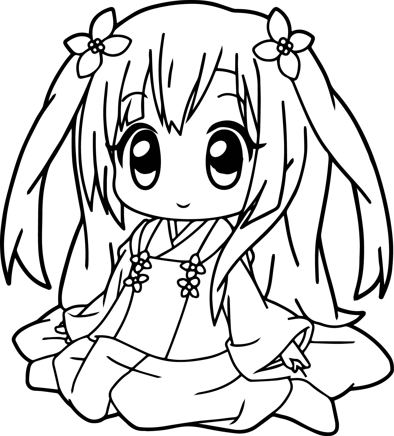 1677x1854 Very Cute Anime Girl Coloring Page Wecoloringpage