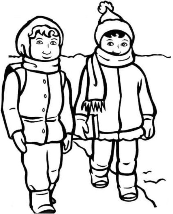 600x745 Boy And Girl With Winter Clothes Coloring Page