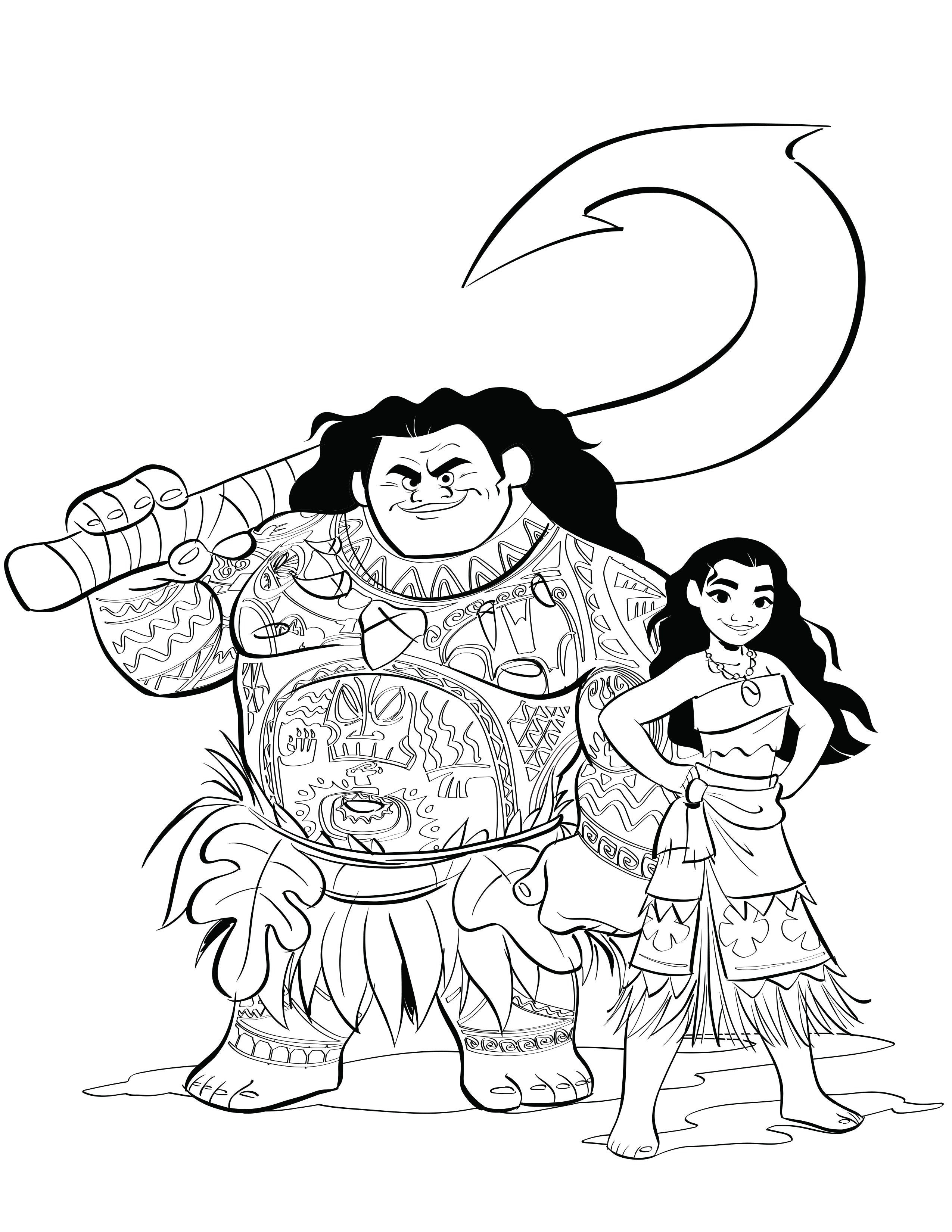 2550x3300 Moana Coloring Pages