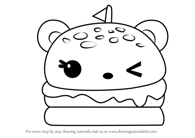 800x567 Learn How To Draw Melty Burger From Num Noms (Num Noms) Step By