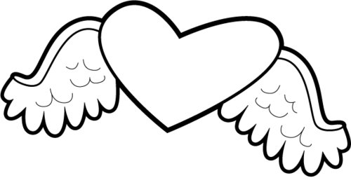 500x274 Coloring Pages Of A Heart With Wings Heart With Wings Coloring