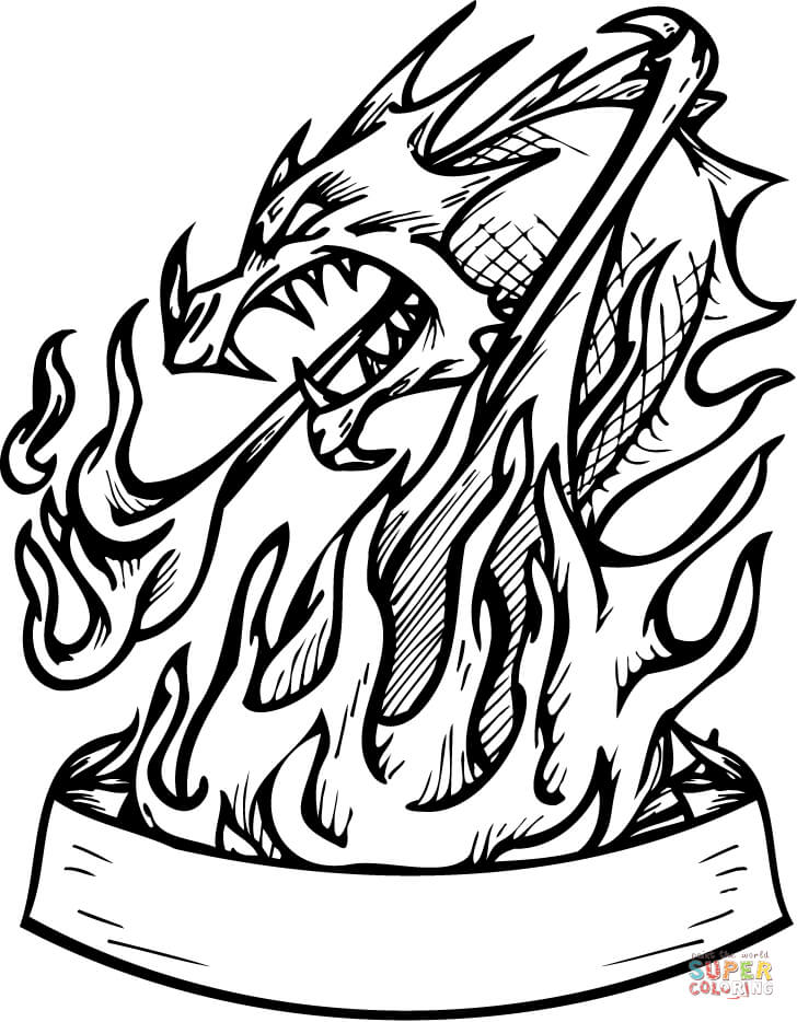 728x934 Dragon In Flames With Banner Coloring Page Free Printable