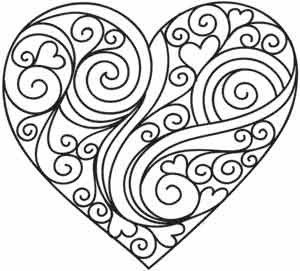 300x271 Heart Coloring Page Could Be A Nice Quilling Pattern Too Paper