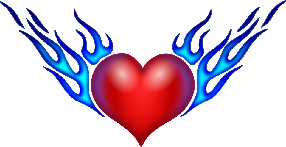 960x494 Heart With Flames Free Vector Graphic Heart Flames Love Flaming