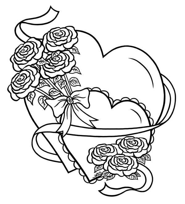 600x663 Hearts Amp Roses, Hearts And Roses Tied With Ribbon Coloring Page